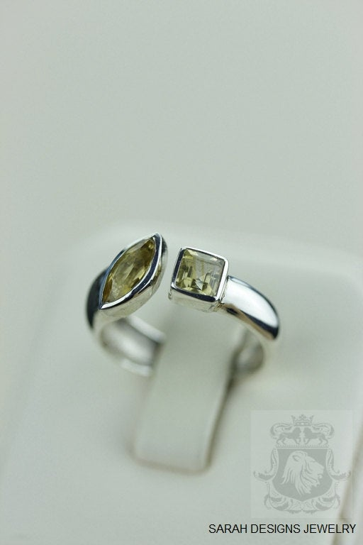 Size 6.5 CITRINE Dual PLAIN SETTING (Nickel Free) 925 Fine S0LID Sterling Silver Ring & Worldwide Express Shipping r1329