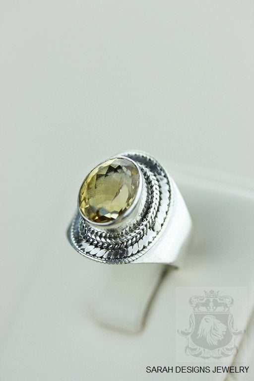 Size 6.5 VINTAGE SETTING CITRINE (Nickel Free) 925 Fine S0LID Sterling Silver Ring & Worldwide Express Shipping r1287