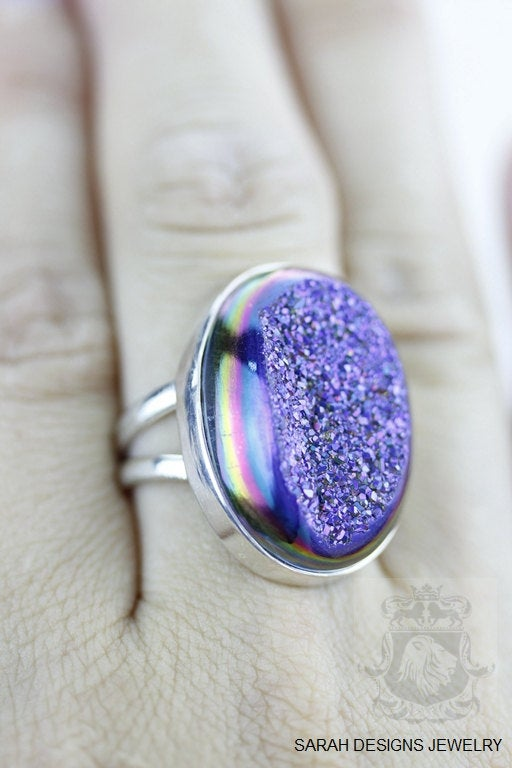 Size 6.5 Drusy Sterling Silver Ring r1186