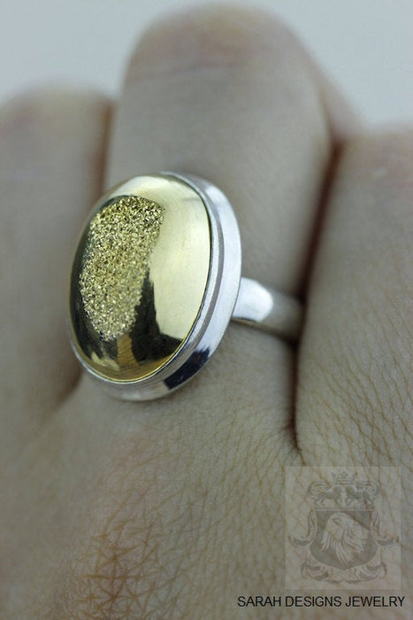 Size 6 Drusy Fine Sterling Silver Ring r1395