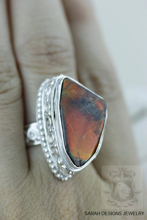 Size 6 Ammolite Sterling Silver Ring r1554