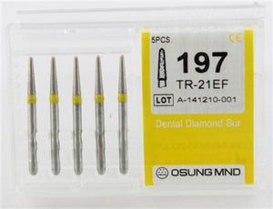 Diamond Burs, Taper Round Shape, Extra Fine Grit Multi-Use 197Tr-21Ef - Osung USA