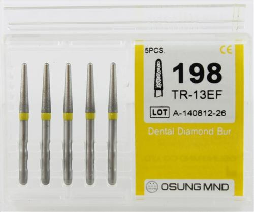 Diamond Burs, Taper Round Shape, Extra Fine Grit Multi-Use 198Tr-13Ef - Osung USA