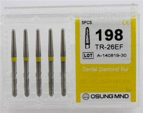 Diamond Burs, Taper Round Shape, Extra Fine Grit Multi-Use 198Tr-26Ef - Osung USA