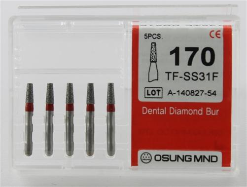 Diamond Burs, Taper Flat Shape, Fine Grit Multi-Use 170Tf-Ss31F - Osung USA