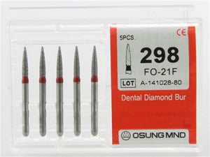 Diamond Burs, Flame Ogival Shape, Fine Grit Multi-Use 298Fo-21F - Osung USA