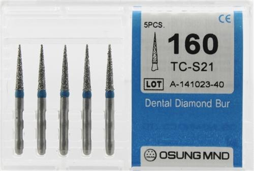 Diamond Burs, Taper Conical Shape, Standard Grit Multi-Use 160Tc-S21 - Osung USA