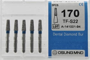 Diamond Burs, Taper Flat Shape, Standard Grit Multi-Use 170Tf-S22 - Osung USA