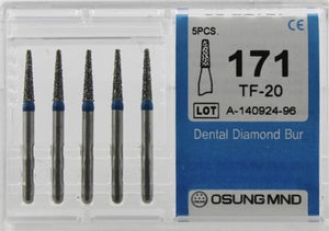 Diamond Burs, Taper Flat Shape, Standard Grit Multi-Use 171Tf-20 - Osung USA