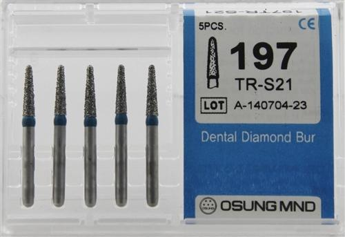 Diamond Burs, Taper Round Shape, Standard Grit Multi-Use 197Tr-S21 - Osung USA