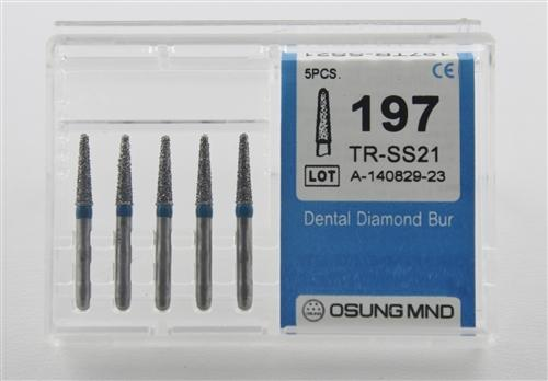 Diamond Burs, Taper Round Shape, Standard Grit Multi-Use 197Tr-Ss21 - Osung USA