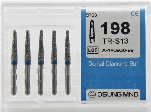 Diamond Burs, Taper Round Shape, Standard Grit Multi-Use 198Tr-S13 - Osung USA