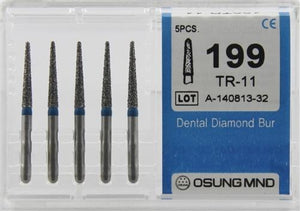 Diamond Burs, Taper Round Shape, Standard Grit Multi-Use 199Tr-11 - Osung USA