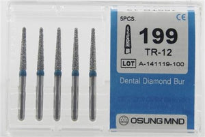 Diamond Burs, Taper Round Shape, Standard Grit Multi-Use 199Tr-12 - Osung USA