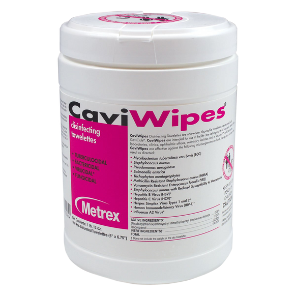 CAVIWIPES 6 x 6-3/4 INCH DISINFECTING 160 WIPES PER CANISTER - Osung USA