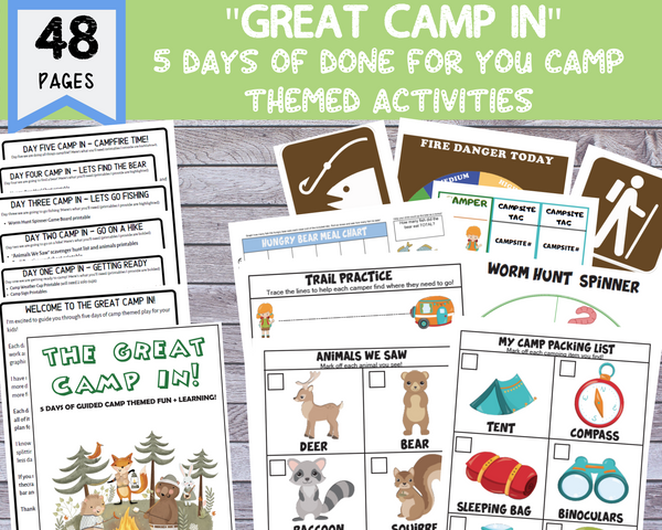 "48 Page ""Great Camp IN"" 5 Day Activity Packet [Printable PDF]"