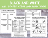 Nature Scavenger Hunts (ABC, Senses, Color and Traditional) [Printable PDFs in Black and White]