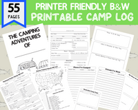 55 Page Printer Friendly Black and White Camp Journal Log