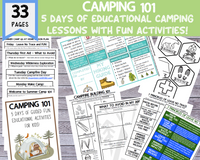 "33 Page ""Camping 101"" DIY Summer Camp Printable (5 Days of Educational Camping Lesson Plans!)"