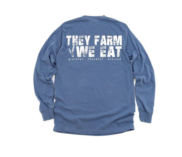 They Farm We Eat Long Sleeve Pocket Shirt