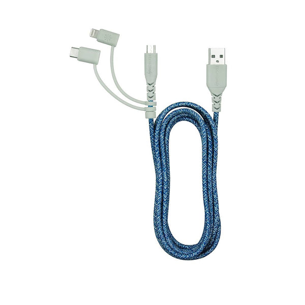 TRIPLE HEADER MAXI 6FT WOVEN USB CABLE : SHADES OF BLUE