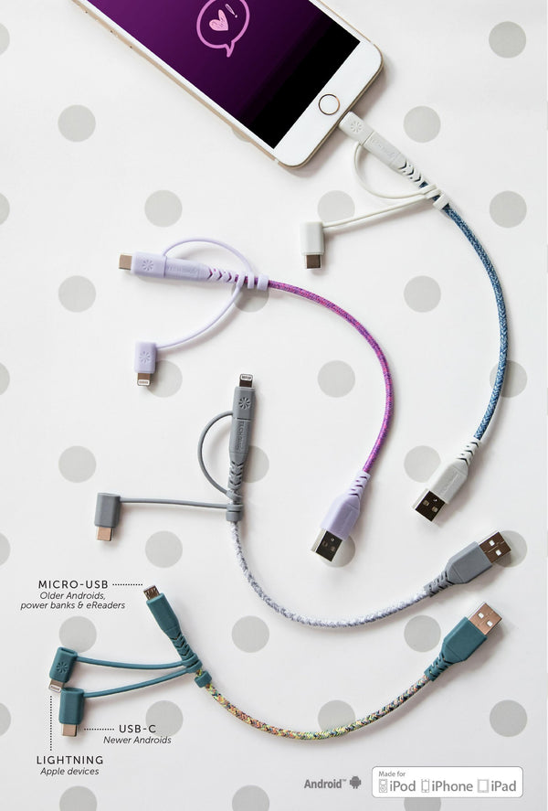 Triple Header Mini 6in Woven USB Cable