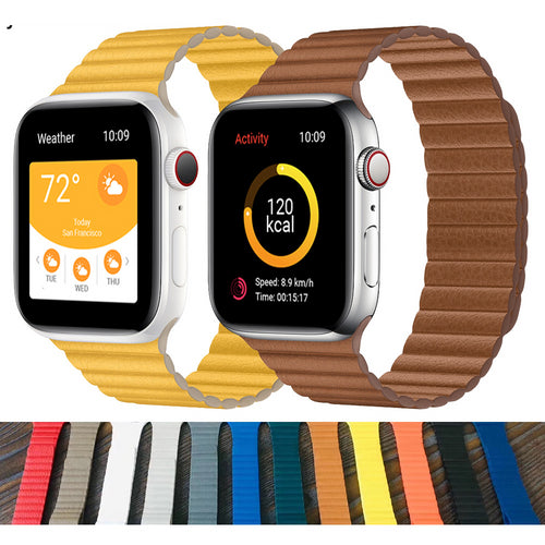Magnetic Leather Loop Band Strap Bracelet for Apple watch - Wristwatchstraps.co