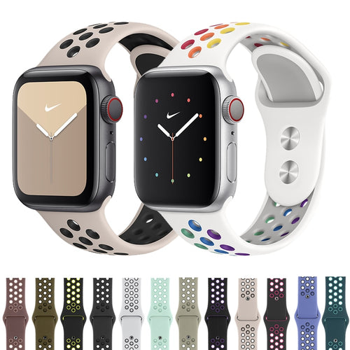 Sport Strap Active Silicone Rubber Belt Strap for Nike+ Apple Watch and 1,2,3,4,5 Series - Wrist Watch Straps