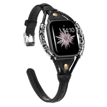 Load image into Gallery viewer, Slim Genuine Leather Apple Watch Strap with metal Bracelet - Wrist Watch Straps