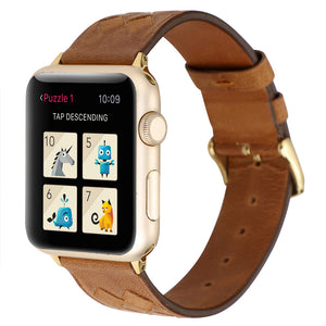 Woven Designed Leather Strap for Apple watch band - Wristwatchstraps.co