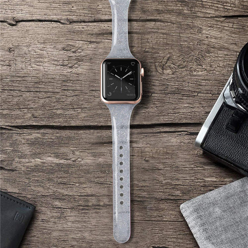 Glistening Glitter Slim Silicone Strap for Apple Watch - Wristwatchstraps.co