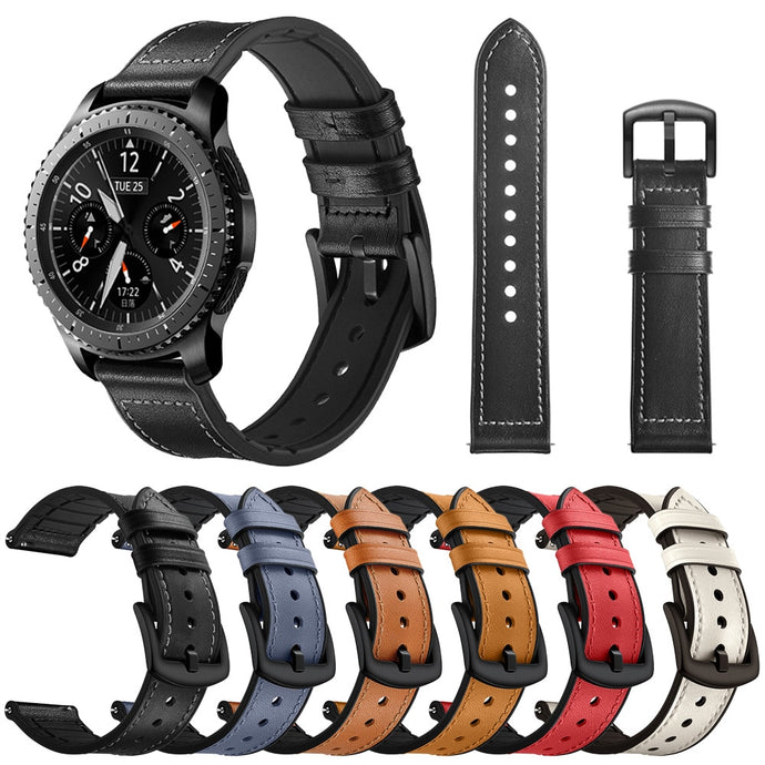 Leather and Silicone Hybrid Sweatproof Strap for Samsung Galaxy watch - Wrist Watch Straps