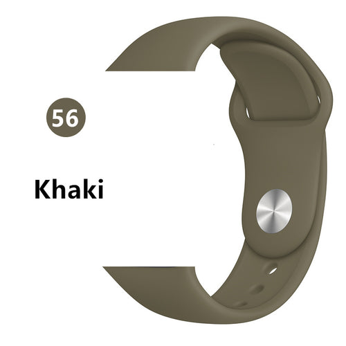 Khaki Silicone strap For Apple Watch - Wristwatchstraps.co