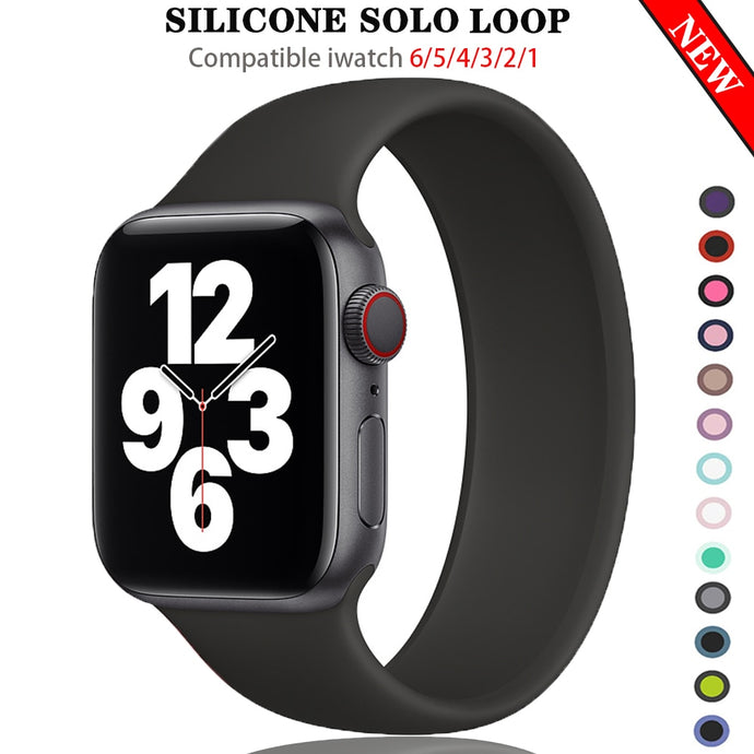 Silicone Solo Loop Strap for new Apple Watch 6 SE All Series - Wrist Watch Straps