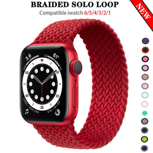 Silicone Braided Stamped Solo Loop Straps for Apple Watch - Wrist Watch Straps