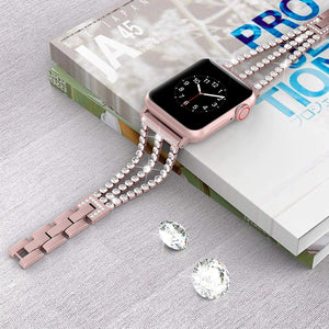 Rhinestone Diamond look Chain Band for Apple Watch Band Stainless Steel - Wristwatchstraps.co