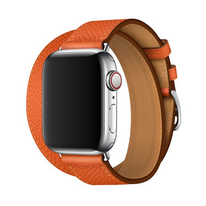 Double Tour Genuine leather Strap for Hermes, Series 1,2,3,4,5, Nike Apple Watch - Wrist Watch Straps