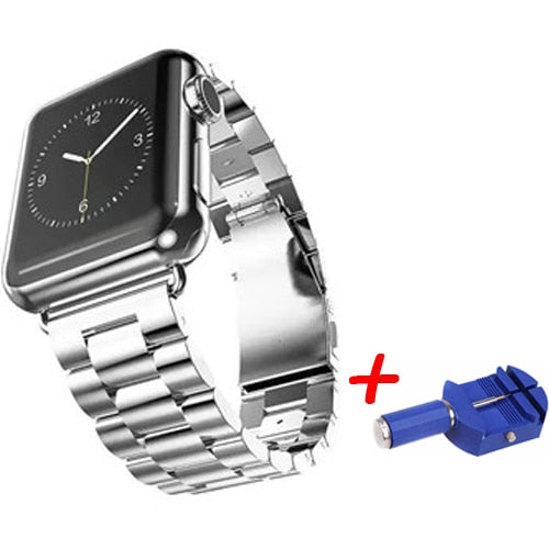 Stainless Steel Metal Bands with Folding Clasp and link tool for Apple Watch - Wrist Watch Straps