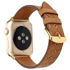 Woven Designed Leather Strap for Apple watch band - Wrist Watch Straps
