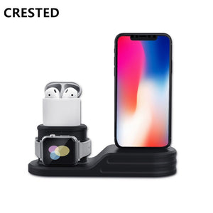 Apple Watch Air Pod and IPhone Combo Charging Station (black) - Wristwatchstraps.co