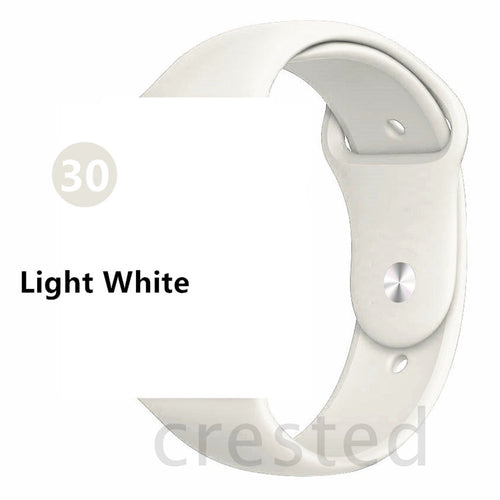 Light White Silicone strap For Apple Watch - Wristwatchstraps.co