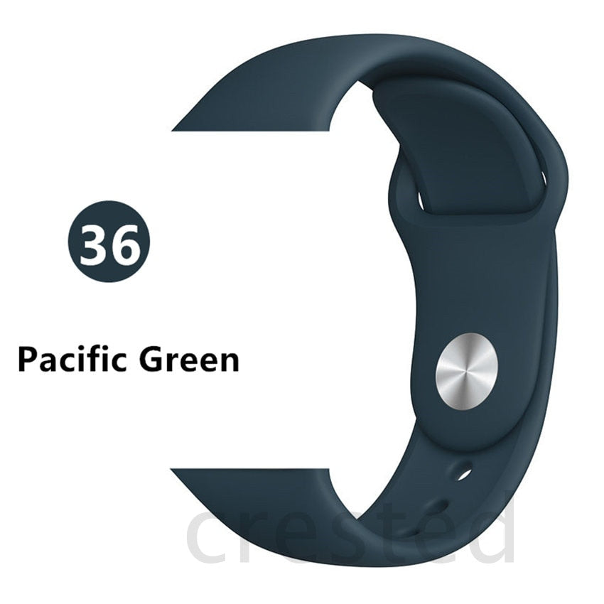 Pacific Green Silicone strap For Apple Watch - Wristwatchstraps.co
