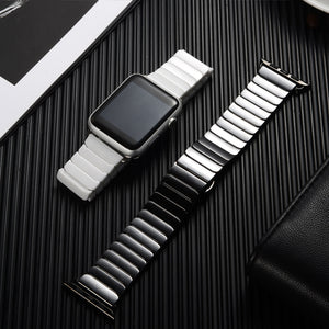 Ceramic Strap with Stainless Steel Butterfly Buckle for Apple Watch - Wrist Watch Straps