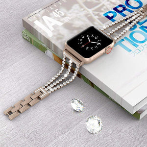 Rhinestone Diamond look Chain Band for Apple Watch Band Stainless Steel - Wrist Watch Straps