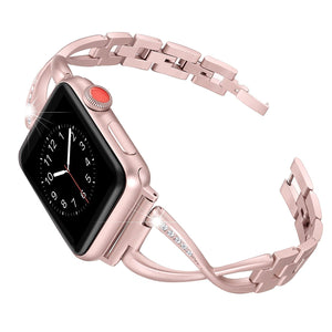 X-Link Apple Watch Stainless Steel Band Metal with Extra Bling Rhinestone - Wristwatchstraps.co