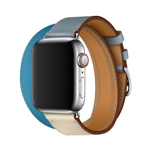 Double Tour Genuine leather Strap for Hermes, Series 1,2,3,4,5, Nike Apple Watch - Wristwatchstraps.co