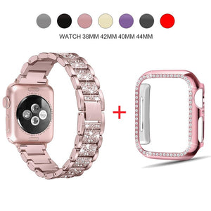 Luxury Diamond Rhinestone Crystal Stone Band + Case Combo for Apple Watch - Wrist Watch Straps