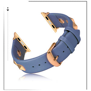 Leather Studded Spiked Apple Watch Strap Genuine Leather Bling Dressy Designer Band - Wrist Watch Straps