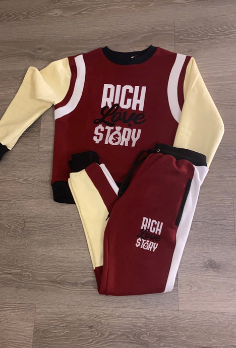 Rich Love $tory Track Suits Burgundy (Unisex)