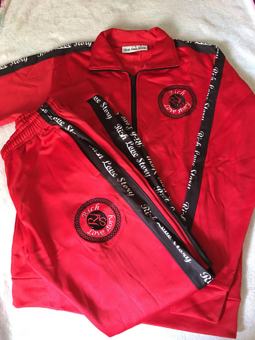 Rich Love $tory Red Polyester Fleece Track Suit (Men)
